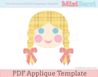 Girl with Braided Hair Applique Template PDF Applique Pattern Instant Download