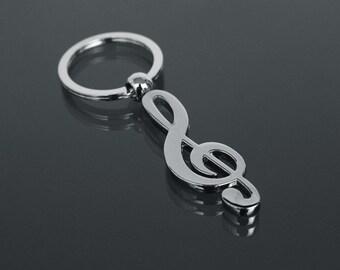 Wedding favor Keychain Keyring treble clef musical notes Gift Idea