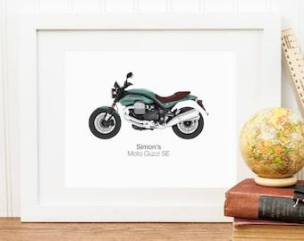 Personalised Motorbike Illustration Portrait