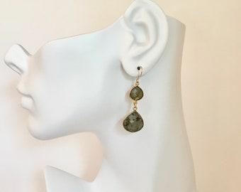 Labradorite gemstone gold dangle earrings