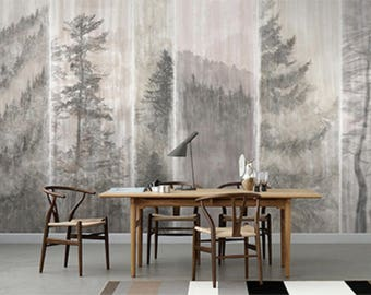 Misty Pine Trees Wallpaper Oriental Black and White Wall Mural Foggy Forest Wall Art Watercolor Ink and Wash Nature and Trees Painting Print