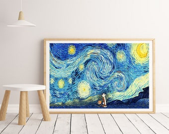 Calvin and Hobbes Print, Starry Night Print, Van Gogh, a Boy and his Tiger , Wall Art Decor, Pritn on Canvas ( NO framed )