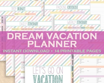 Vacation Planner, Travel Planner, Vacation Organizer, Travel Organizer 14 Printable Pages! Letter Size