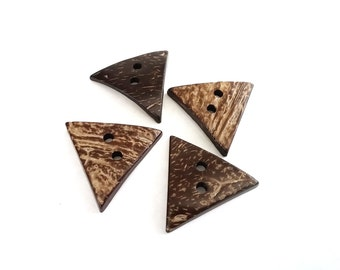 2 Brown Coconut Shell Buttons 40mm -  Triangle shape (BC505)
