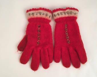 Red Wool Vintage Child's Winter Gloves Warm Kids Girls Gloves
