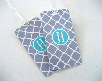 Luggage Tag - Family 4-Pack - Gray Quatrefoil Luggage Tag - Monogram Luggage Tag - Quatrefoil  Travel Tag