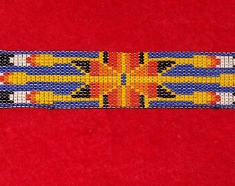 Native American Beaded Feathers Wrist Band
