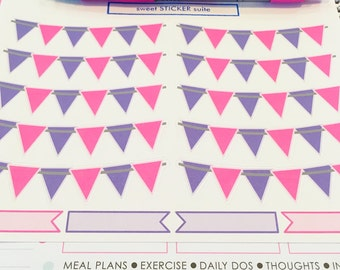10 Banners and 4 Flags- Pink and Purple Banners and Flags for your Erin Condren Planner, Plum Paper planner, wall calendar or scrapbook
