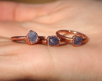 Raw Tanzanite Ring // Electroformed Copper Jewelry // Raw Crystal Ring