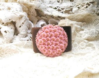 recycled leather cuff pink assemblage bracelet floral upcycled vintage jewelry brooch romantic cottage chic romance