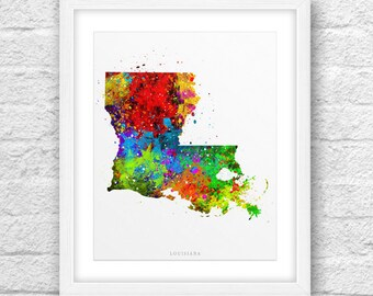 Louisiana Map, Louisiana Print, Louisiana Art, Louisiana State, Louisiana Watercolor, Minimalist Art, Louisiana Printable,Instant Download