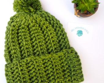Cosy Handmade Chunky Textured Knit Crochet Beanie - GREEN