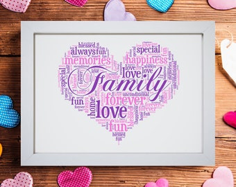 Personalised Family Love Heart Word Art Cloud Mothers Day Birthday Gift