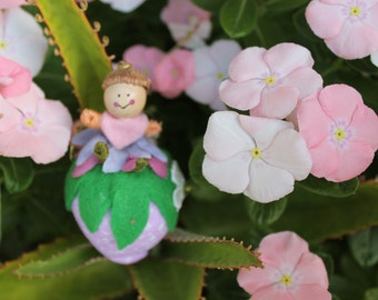 Felt Art Doll and Plush Strawberry, hanging ornament, door hanger, bowl fillers, felt ornament