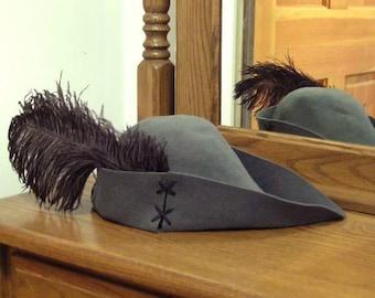 Gray Felt Bycocket - Laced Gothic - Hunter's Cap - SCA Robin Hood Hat