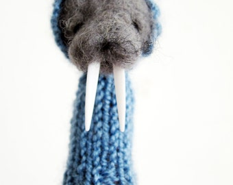Decorative Soft Toy, WALRUS FINGER PUPPET, needle crafted from wool and knitted with yarn, blue, grey