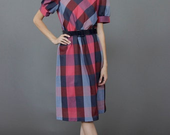 Vintage Gingham/plaid dress, 80s does 50s, S/M