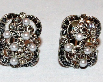 Victorian Style Marcasite and Pearl Earrings