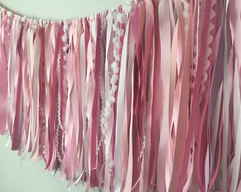 ribbon garland /  wedding decor garland / pink nursery garland / ribbon backdrop / nursery decor / boho ribbon garland / baby shower garland