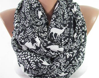 Deer Scarf Clothing Gift Fairytale Gift Valentines Gift For Mom Gift For Women For Mom For Wife Best Friend Infinity Scarf Black Scarf Shawl