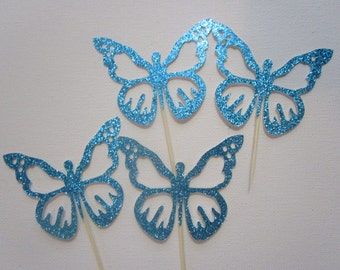 Set of 12 Butterfly cupcake toppers, Spring party cupcake toppers,  Garden party cupcake toppers