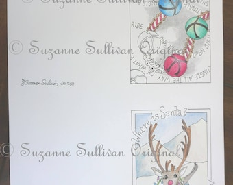 Holiday Note Cards, DIY Note Cards to Color, Jingle Bells, Rudolph Reindeer,  Adult Coloring Cards, Holiday Cards, 285, Coloring Pages,  PDF