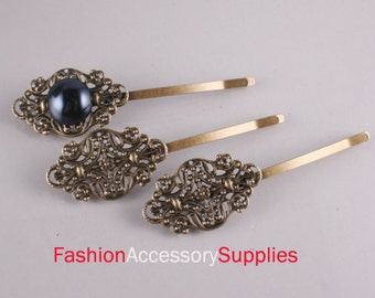 10PCS-75mm Antique Bronze Bobby Pin with Filigree Pad(E285)