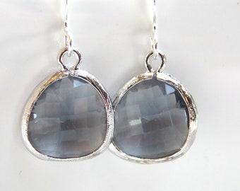 Gray Earrings, Grey Earrings, Glass Earrings, Silver Earrings, Dainty, Charcoal, Bridesmaid Earrings, Bridal Earrings, Bridesmaid Gifts