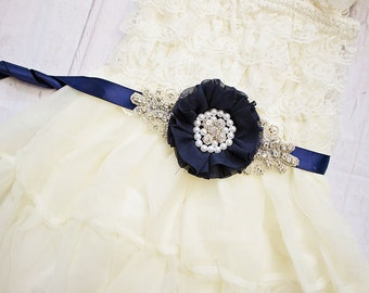 Flower Girl Sash, Rustic Sash/ Bridesmaid Sash, Navy Bridal Sash, Flower Sash, Maternity Sash, Bridal Belt