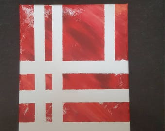 Striped Red Acrylic 8×10 Painting - Canvas