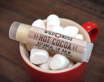 Lip Balm Natural HOT COCOA Organic Dark Chocolate + Vanilla .15 oz stocking stuffer