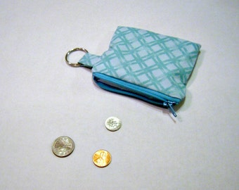 Aqua Blue Coin Pouch with Key Ring