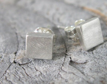 Chunky petite square sterling studs, square silver post earrings with brushed finish