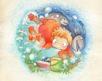 Studio Ghibli Ponyo Sea Sisters 11 x 11 Print