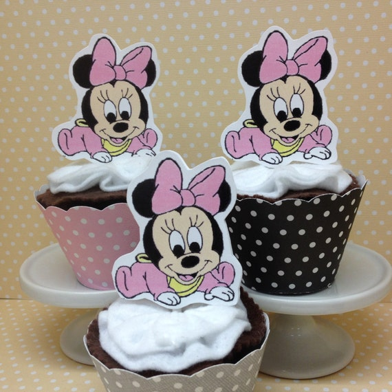 Minnie Mouse Baby Shower Party Favors: Baby Minnie Mouse Party Or Baby Shower Cupcake Topper