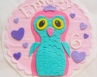 HATCHIMALS Edible Fondant Cake Topper Plaque with Name Age 8 inch
