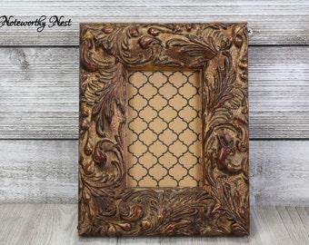 AMAZING CHUNKY FRAME Horizontal Or Vertical / ornate frame / baroque frame / Hollywood Regency // Large 4x6 frame // antique gold frame