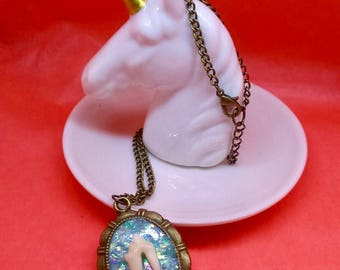 Taxidermy animal tooth pastel blue faux opal necklace, cruelty free