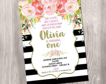 Girl birthday invitation, black white stripes, first 1st birthday invitation, watercolor floral, pink gold glitter, Printable Invitation