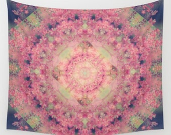 wall tapestry-pink-green-abstract wall art-fabric wall decor-mandala-kaleidoscope-modern home decor