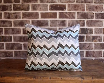 Blue and Gray Chevron Pillow Cover