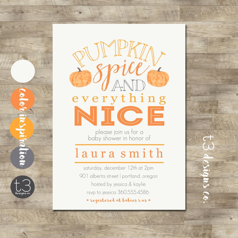 Pumpkin Spice Baby Shower Invitation, girl or boy, pumpkin baby ...