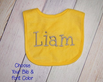 Embroidered Bib with Name, Personalized Baby Bib, Personalized Bib, Custom Embroidered Name Bib, Baby Shower Gift, Baby Girl Bib, Boy Bib