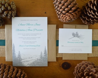 Mountain Wedding Invitations - Pine Tree and Pine Cone - Personalized