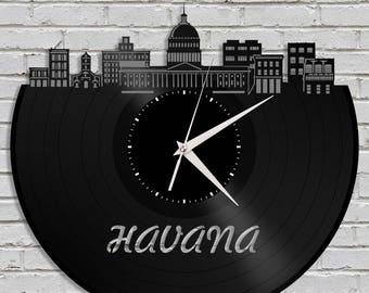 Havana Cuba Clock, Cuban Art, Cuba Gift, Travel Gift Idea, Time Clock, Vinyl Decoration, Repurposed Art, Personalized Gift Idea Record Clock