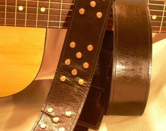 "Genuine Leather Guitar Strap Handmade ""Copperhead"""