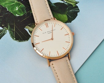 Modern - Vintage Personalised Leather Watch in Stone - San Serif Font - Ladies Watch - Secret Message - Made to Order - FREE UK DELIVERY