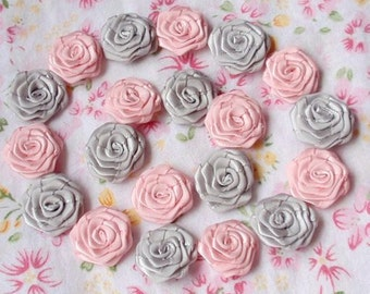 20 Small Handmade Ribbon Roses (3/4 inches) In Lt Pink, Gray And Have Over 150 Colors To Choose  MY30-20 Ready To Ship