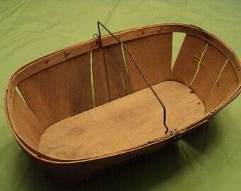 Vintage Wood Large Oval Berry Basket-Fruit Basket-Metal Handle