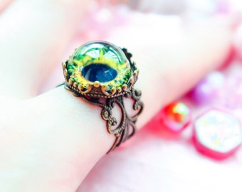 Gothic, Antique, Witchcraft, Horror, Taxidermy, Victorian Styled Creepy Vintage Eye Ring (Amber)